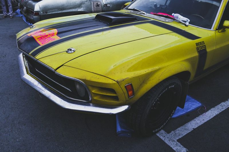 Yellow Car Transportation Automotive Photography Automotive Parking Ford Mustang Boss302 Ponycar