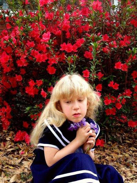 Picking Flowers in Nana's Garden Childhood Flower Blond Hair Children Only Freshness Nature Tranquility Children