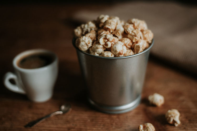 Popcorn Toffee Coffee Food Food And Drink Coffee - Drink Cup Drink Wood - Material Freshness Mug Indoors  Hot Drink Rustic Indulgence Wood Grain