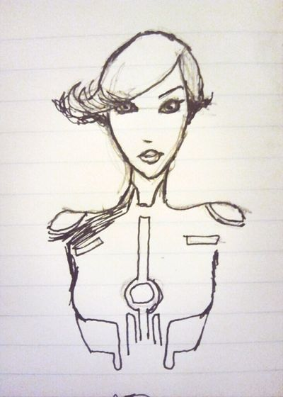 Notebook doodle of Mara from TRON: UPRISING