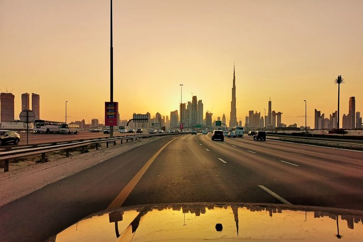 City Cityscape Urban Skyline Politics And Government Sunset Skyscraper Water Bridge - Man Made Structure Car Sky