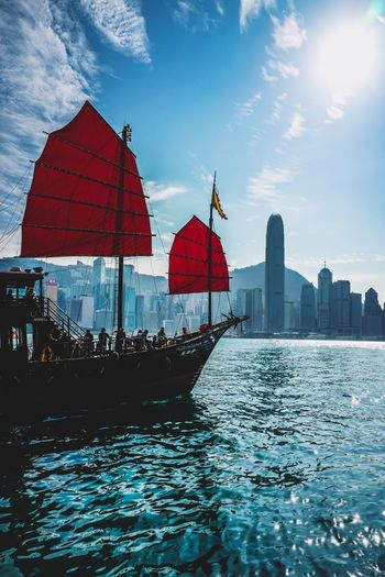 to go adventure Harbour Aqualuna Harbour Discoverhongkong Built Structure Architecture Water Flag Day Building Exterior Sky Outdoors Nautical Vessel Large Group Of People City Real People Men Nature People