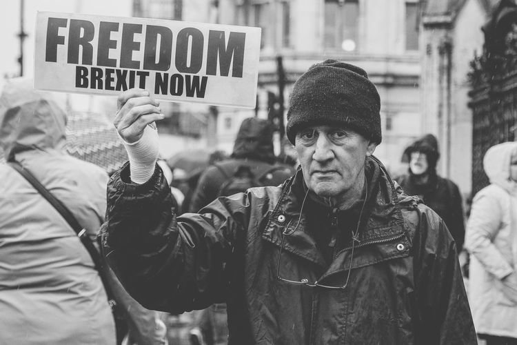 Pro Brexit Demonstrator outside Houses of Parliament Brexit Politics And Government Real People Lifestyles Waist Up Leisure Activity People Men Communication Portrait My Best Photo The Photojournalist - 2019 EyeEm Awards