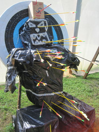 An unconventional archery target, 2013. Arrow Bear DIY Target Trash Bags Aim Animal Themes Archery Arrows Day Diy Target No People Outdoors Sculpture Shooting Shooting Practice Target Shooting Trash Bag Unconventional Unconventional Targets Camp