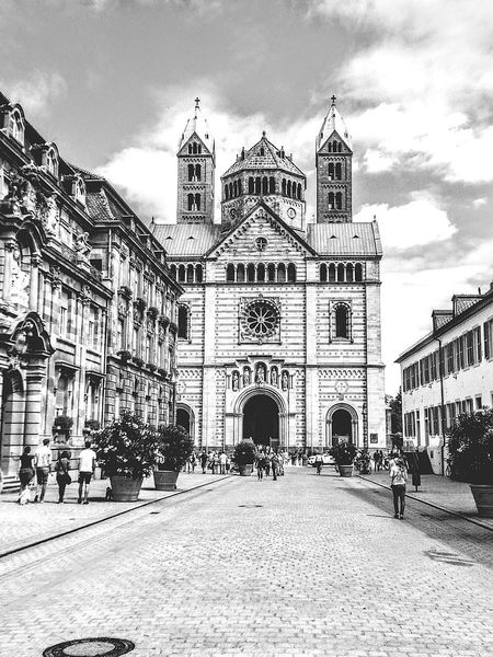 Architecture Built Structure Building Exterior Sky Cloud - Sky Travel Destinations Gothic Style Religion Large Group Of People Day Outdoors Place Of Worship Dome People City Politics And Government Adult Adults Only Street View Cityscape Speyer Speyerer Dom Germany