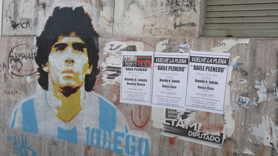 Argentina Boca Juniors Buenos Aires Buenos Aires Emblematic Places Buenos Aires, Argentina  Close-up Day Deterioration Diego Armando Maradona Football Idol Information Information Sign Maradona No People Player Text