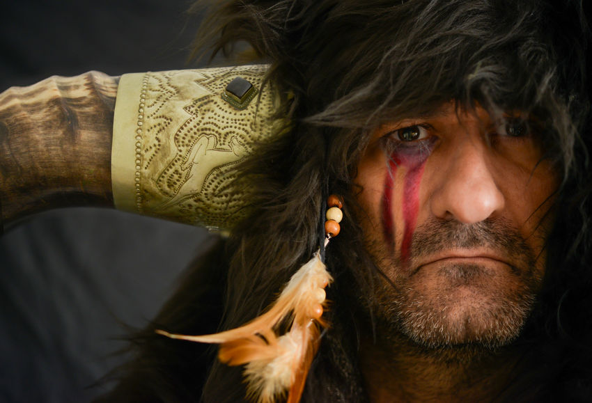 The warrior- Warrior Indian Hunting Hunter Fur Feather  Horns American Native Fine Art Photography