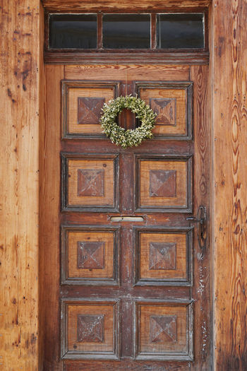 Architecture Brown Building Closed Day Door Entrance House No People Old Shabby Wood Wood - Material Wooden Wreath
