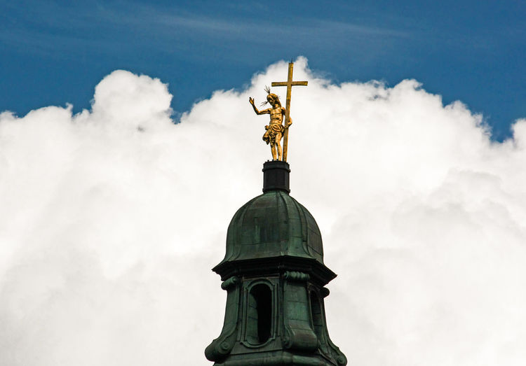 Ascension Cross Heaven Jesus King Monastery Worship Barock Belief Christ Churchtower Cloud - Sky Clouds And Sky High Section Human Representation Low Angle View Religion Sculpture Sky Spirituality Statue Zwettl