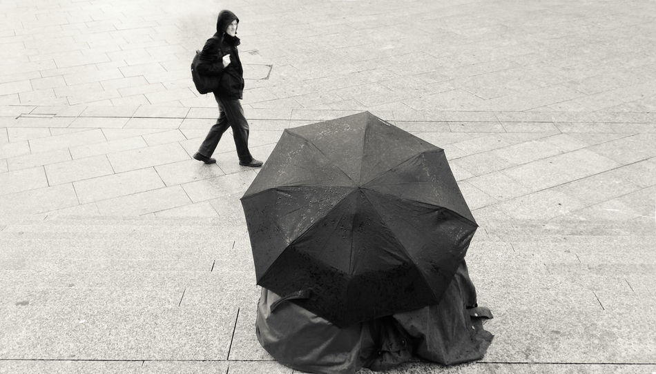Black & White Friends Love Rain Adult Adults Only Black And White Blackandwhite Photography Day Full Length Hiding For The Rain High Angle View Lifestyles Man Walking Alone Outdoors People Sitting On The Steps Together Umbrella Under The Umbrella  Under The Umbrella In The Rain Walking