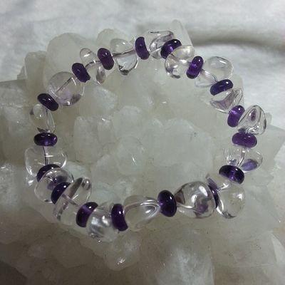 不定形 白晶(約7mm)加 切割 紫晶(5mm) 只有一條!優惠價$98