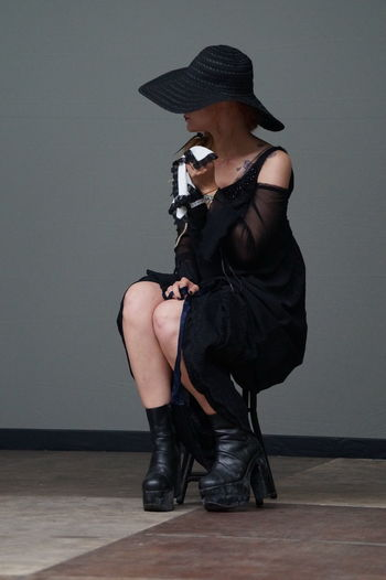 Fashion Show Goth Gothic Style Indoors  Lifestyles Mera Luna Festival One Person Posing Sitting Young Women