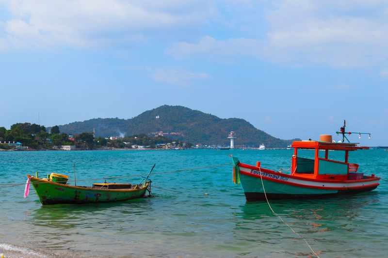 Koh Sichang, Thailand EyeEm Thailand Travel Thailand Nautical Vessel Water Transportation Mode Of Transportation Sky Mountain Sea Beauty In Nature Nature Fishing Boat Beach Fishing Industry Cloud - Sky Day Land