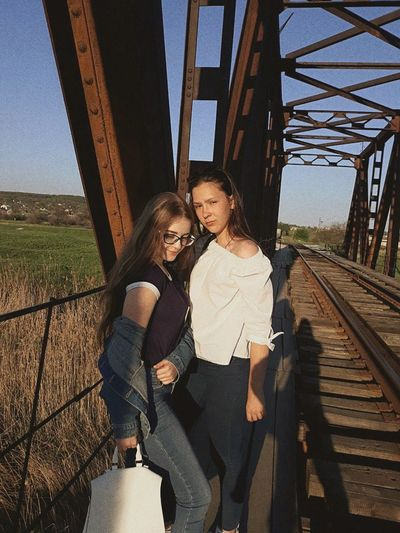Friendship Togetherness Young Women Clear Sky Women Standing Bridge - Man Made Structure Happiness Sky Built Structure
