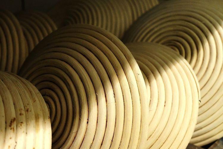 Full frame shot of spiral baskets