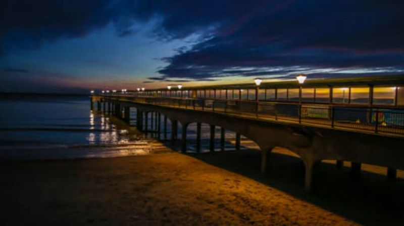 Water Tranquil Scene Outdoors Night Sky Beauty In Nature Canon 5d Mark Lll Dorset Beach Boscombe Pier  Water Surface Boscombe Pier