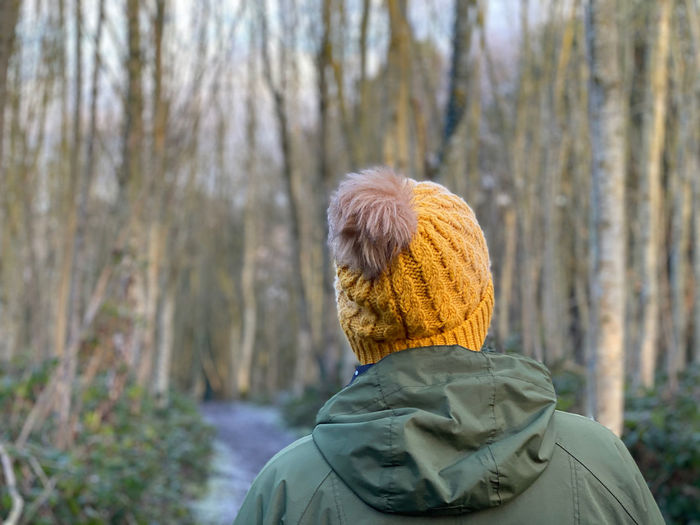 Rear view of senior man in forest