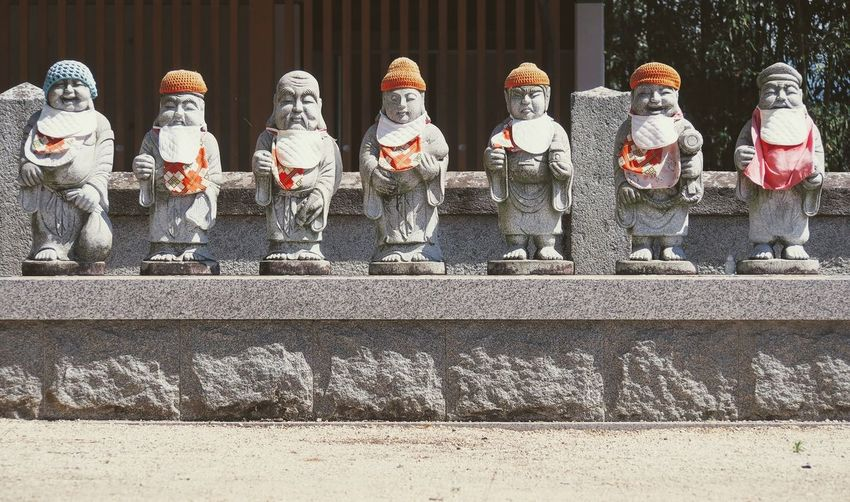 Art And Craft Buddhist Temple Colourful Hats Colourful Statues Day Human Representation Imabari In A Row Male Likeness Outdoors People Sculpture Seven Dwarves Statue Statues Wearing Hats Streetphotography
