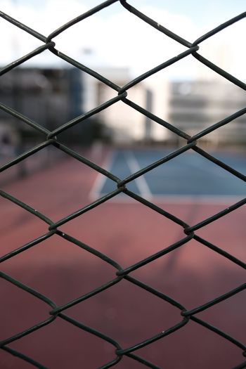 Tennis court Tenniscourt Fence Chainlink Fence Pattern Backgrounds Full Frame Metal Security