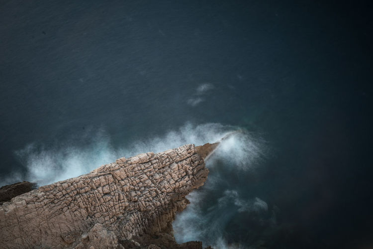 High Angle View Of Sea Shore Against Sky