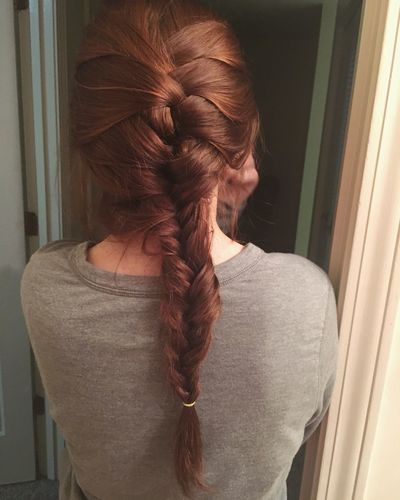 EyeEm Selects Indoors  Hair Braid Fishtail Braid Real People One Person Rear View Long Hair Lifestyles Indoors  Young Adult Women Young Women Standing Beautiful Woman Day Human Back Close-up People
