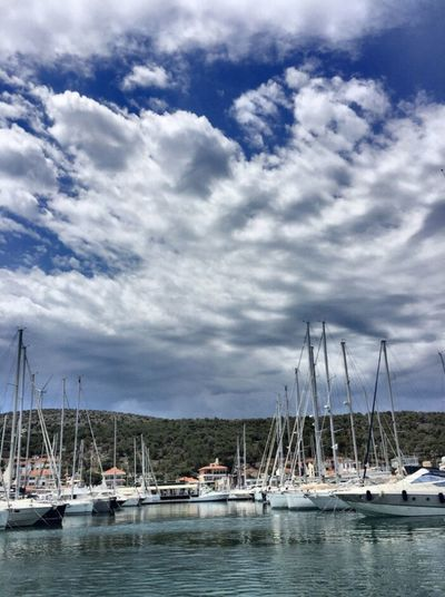 Nautical Vessel Cloud - Sky Sky Water Transportation Mast Mode Of Transport Moored Nature Scenics Tranquil Scene Harbor Sailboat Outdoors Tranquility Waterfront Day Sea Beauty In Nature No People