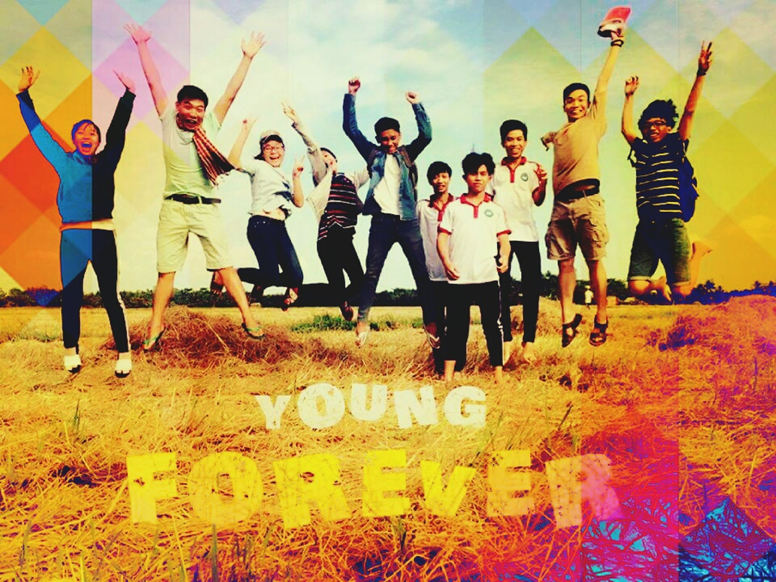 friendship, men, fun, music, large group of people, full length, happiness, arts culture and entertainment, adult, people, jumping, leisure activity, outdoors, women, cheerful, adults only, togetherness, young adult, motion, young women, playing, musician, day, nature, sky