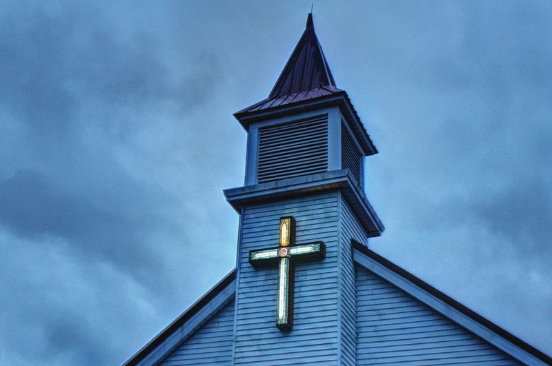 Illuminated Cross Steeple Curch Part Of Religious Architecture Evening Sky Lighted Crosses Old Buildings