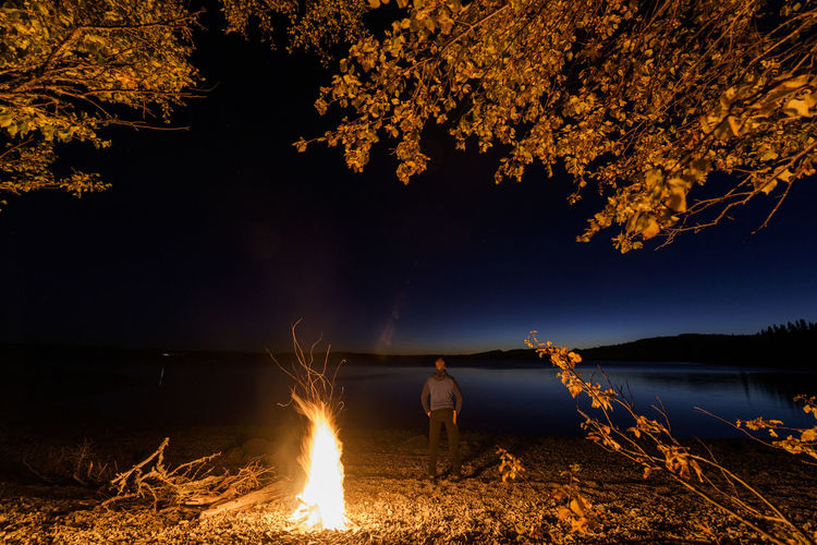 Scenic view of illuminated tree by lake against sky at night