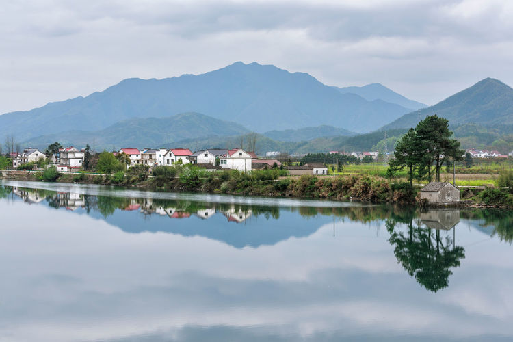 On the trip Mountain Mountain Range Reflection Sky Cloud - Sky Water Building Architecture Lake Nature Tranquil Scene Tranquility River China Jingxian Anhui Chinese