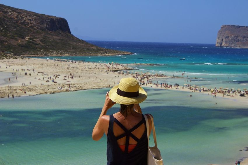 Can you see there? Balos Balos Lagoon Beach Beauty In Nature Casual Clothing Crete Crete Greece Greece Holding Horizon Over Water Kreta Leisure Activity Lifestyles Non-urban Scene Rear View Scenics Sea Standing Three Quarter Length Tourism Tourist Tranquil Scene Travel Destinations Vacations Water