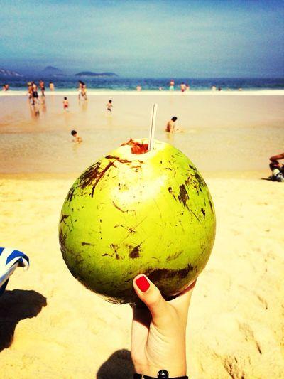 Coconut Getting A Tan Brasil Enjoying Life