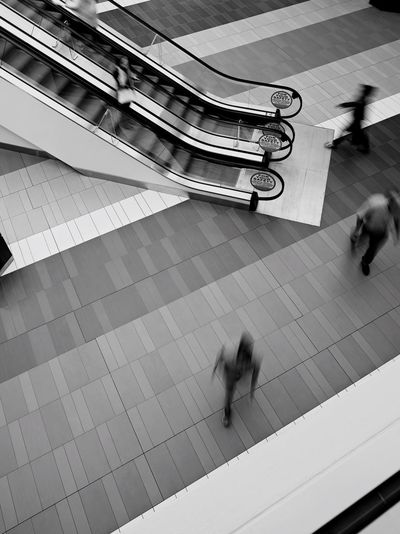 Movement Blurred Motion People High Angle View Blackandwhite Urban City Walking Streetphoto_bw Bw