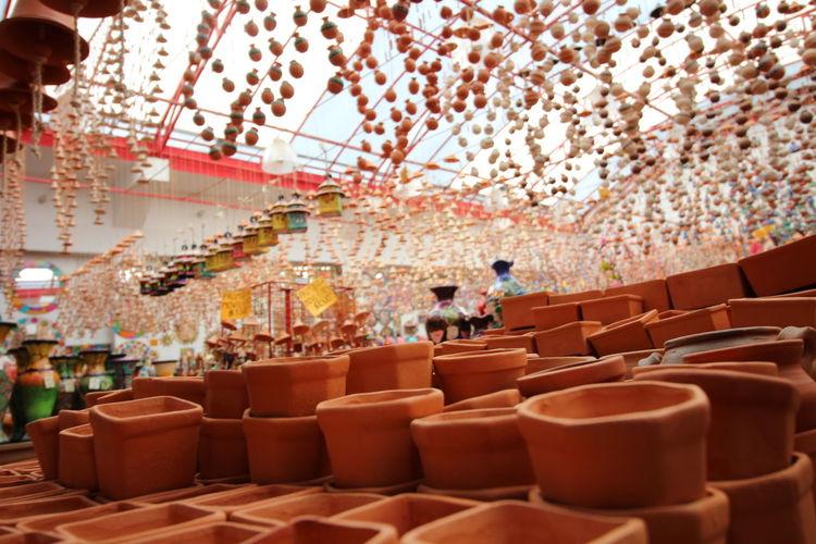 Earthen pots for sale in store
