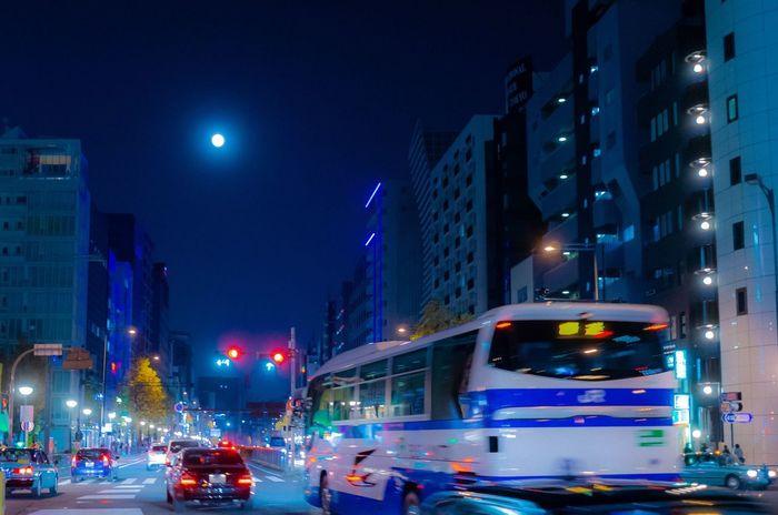 Full Moon 🌕 Full Moon Night Street Cityscape Tokyo Tokyo,Japan Tokyo Street Photography Illuminated Night Building Exterior Street City Architecture Transportation City Life Blurred Motion Mode Of Transport Motion Sky No People The Street Photographer - 2018 EyeEm Awards