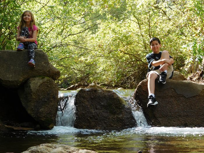 Kids at the Creek Kids Waterfalls Waterfall Water Family Brother & Sister Siblings Water Full Length Real People Leisure Activity Nature Lifestyles Day Togetherness Childhood People Motion Front View Child Enjoyment Emotion Waterfront Outdoors Positive Emotion