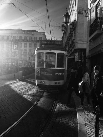 Lisboa... Transportation Public Transportation Railroad Track Mode Of Transport Tram Train - Vehicle Rail Transportation Cable Car Railroad Station Platform Blackandwhite Lisboa Black And White Outdoors Lisbon Street Light And Shadow