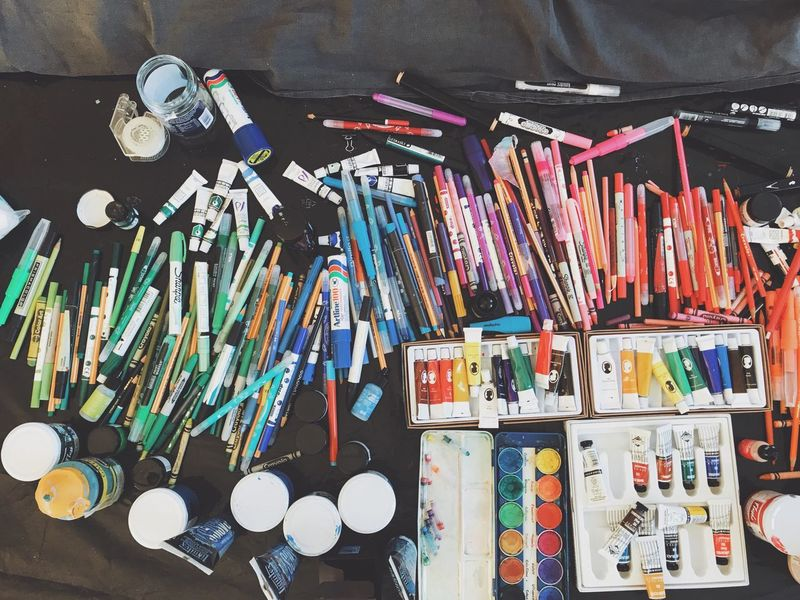 Large Group Of Objects Choice Variation Abundance Indoors  No People Desk Organizer Day Pencil Pens Pencils Colorful Color Colors Studio Artists Studio Artists Coloring Overhead View Top Perspective Paint Oil Colour Acrylic Painting Coloring Pencils Crayons
