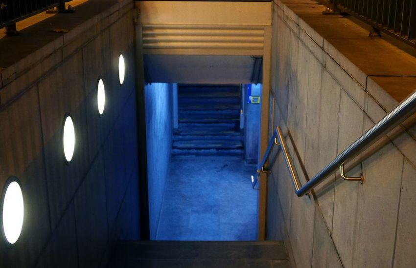 Underground Passage Stairs At Night Brussels Belgium