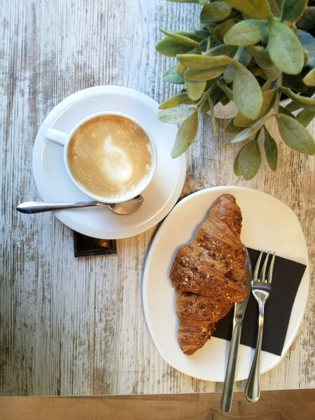 My favourite breakfast. Coffee Cup Coffee - Drink Food And Drink Wood - Material Breakfast Cup Healthy Eating Freshness Fresh Baked Food Healthy Lifestyle Healthy Food Wooden Table Croussant Integral Point Of View Mobile Photography Visual Feast