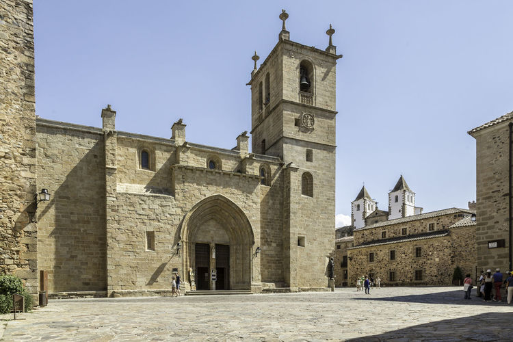 Architecture Blue Building Exterior Built Structure Church City Cáceres Day Exterior Façade Historic History Low Angle View Old Outdoors Place Of Worship Religion Sky SPAIN The Past Tourism Travel Destinations