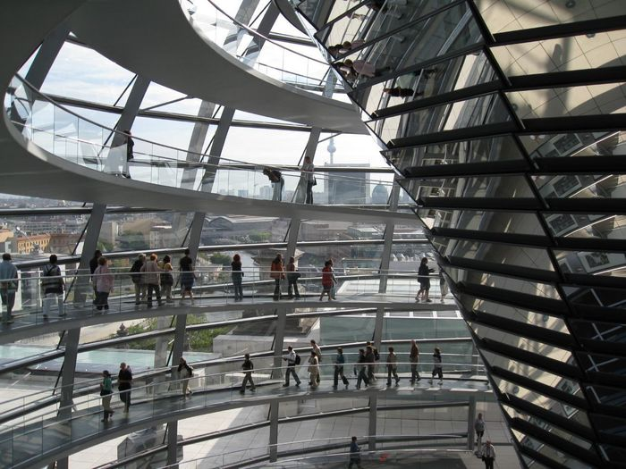 Bundestag Architecture Built Structure Ceiling City Crowd Day Glass - Material Group Of People High Angle View Indoors  Large Group Of People Lifestyles Men Modern Railing Real People Staircase Travel Travel Destinations Walking