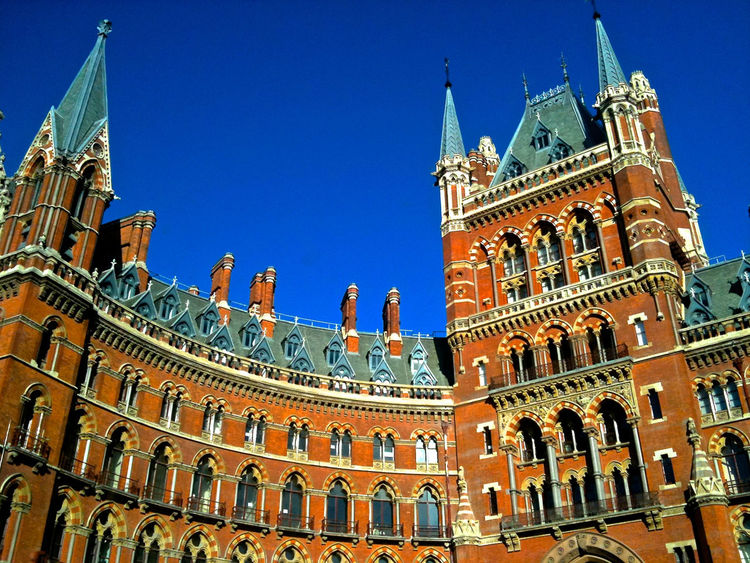 Architecture Building Exterior Built Structure Clear Sky Day Historical Building History London Low Angle View Morning Sun No People Outdoors Postcard St Pancras Station Tourism Travel Destination Windows Presentation Background Tall Buildings