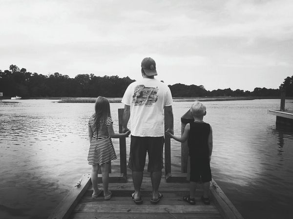 Togetherness Water Rear View Cloud - Sky Scenics Blackandwhite Black And White Photography Children Photography Fatherhood Moments Fatherhood  Monochrome Photography