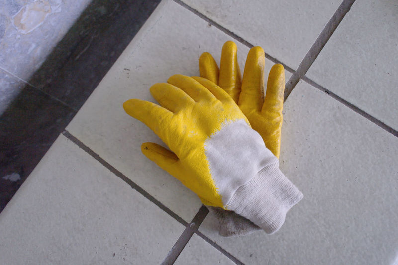 High angle view of glove on floor