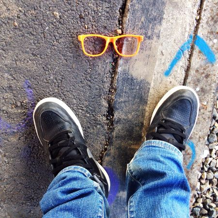 Jeans , Sneakers and Orange Sunnies Sunglasses