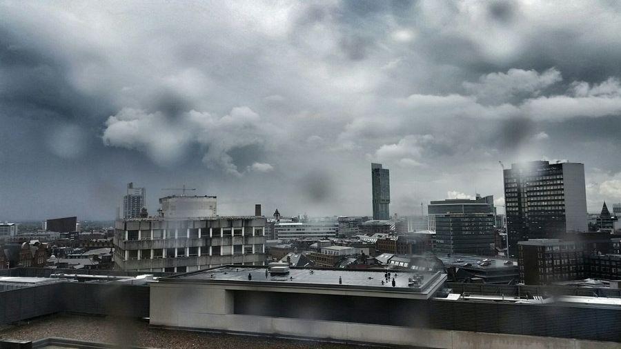 Manchester BeethamTower Rainy City Rain Clounds  Cityscape
