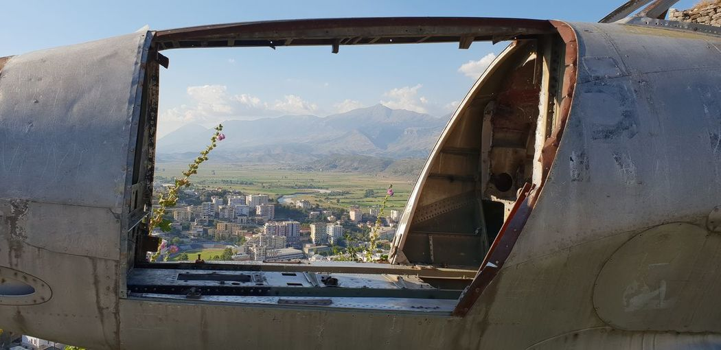 View of abandoned airplane window