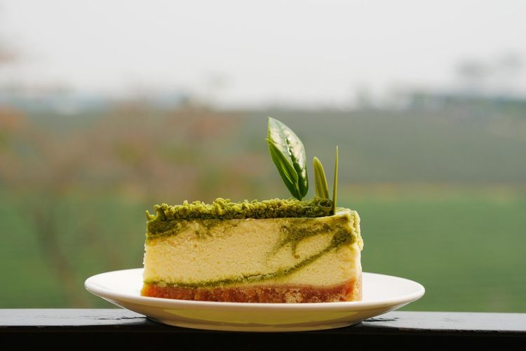 Green tea cheesecake Cheesecake♥ Bakery EyeEm Selects Focus On Foreground Food And Drink Plate Green Color No People Freshness Close-up Food Ready-to-eat