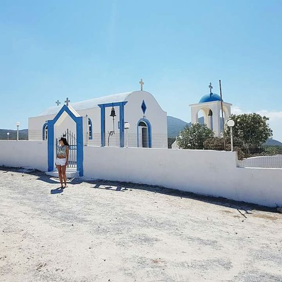 Love Greece😍Religion Architecture Outdoors One Person Day Travel Destinations Only Women One Woman Only Clear Sky Kos Greece Kardamena EyeEm Best Shots Enjoying The Sun EyeEmBestPics EyeEm Gallery Looking At View Summer One Young Woman Only Landscape Done That.